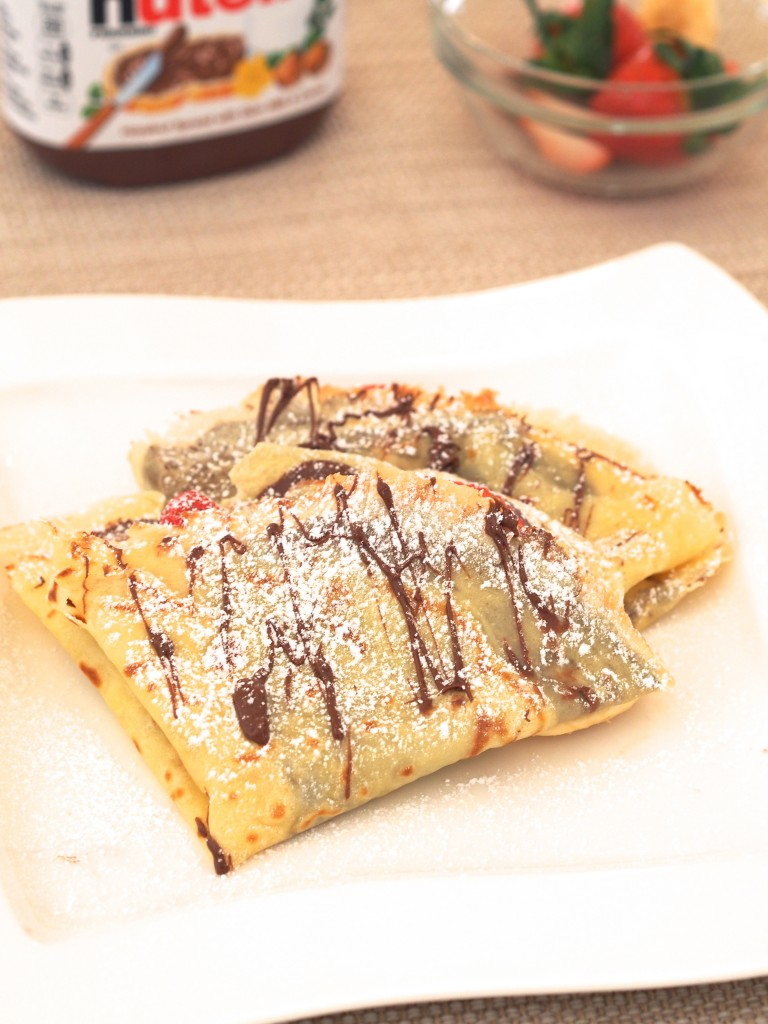 Nutella and strawberry crepes