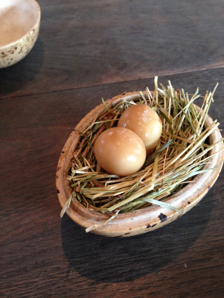 Quail eggs, pickled and smoked