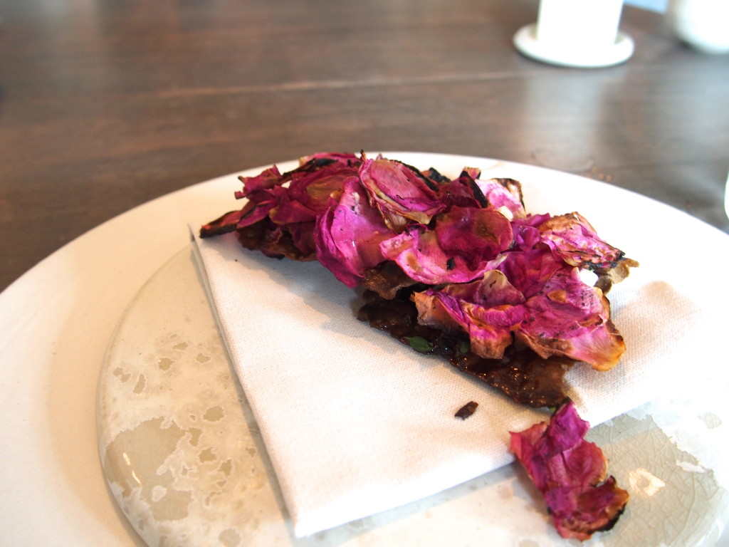Flatbread with brown butter and wild roses