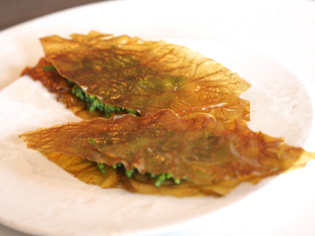 Baked leaves with watercress center